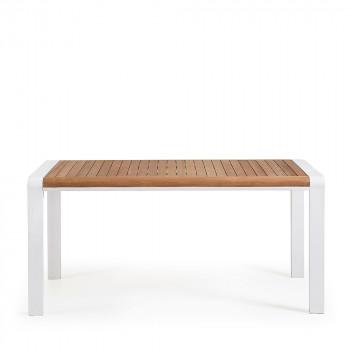 Table à manger bois massif et aluminium indoor et outdoor Rick