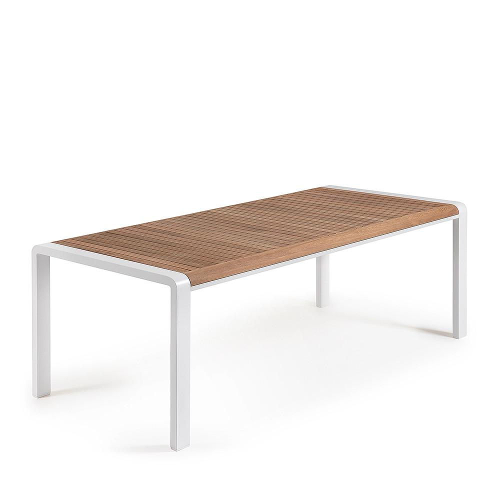 Table manger bois massif et aluminium indoor outdoor for Table exterieur bois massif