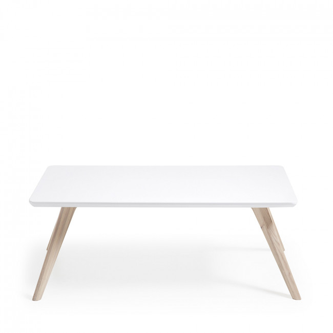 Table basse rectangle bois frêne blanc mat Ben