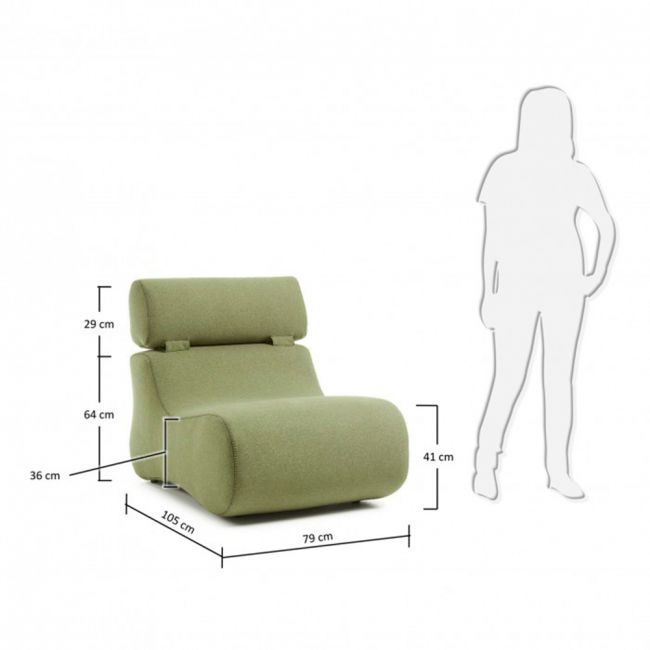 Dimensions fauteuil design organique tissu Alia