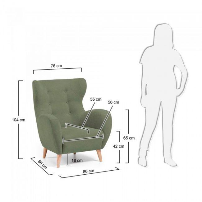 Dimensions fauteuil scandinave tissu rembourré avec boutons décoratifs Lord
