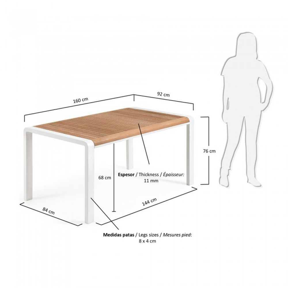 table manger bois massif et aluminium indoor outdoor rick by drawer. Black Bedroom Furniture Sets. Home Design Ideas