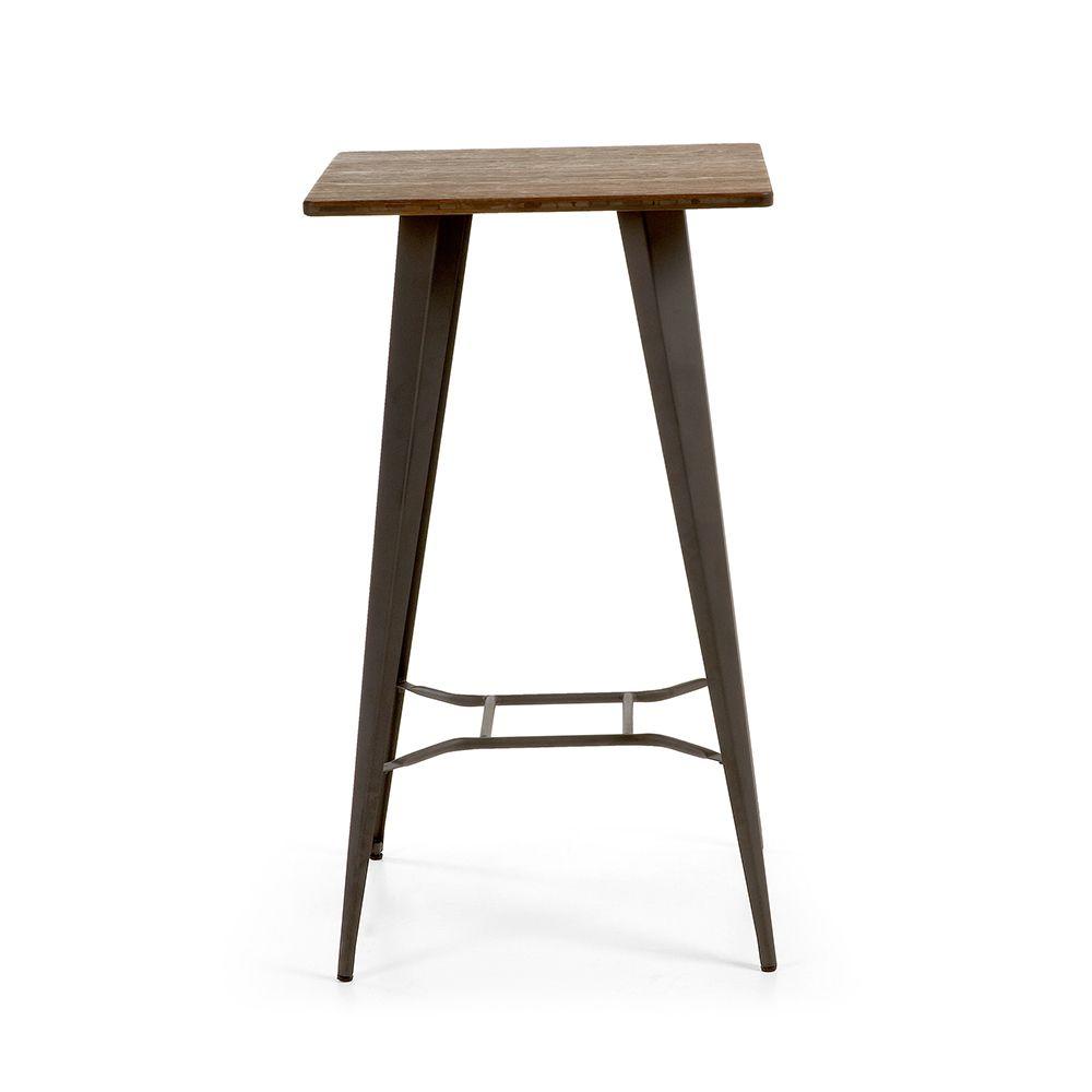 Table de bar acier et bois indoor outdoor mali by drawer for Table de bar bois