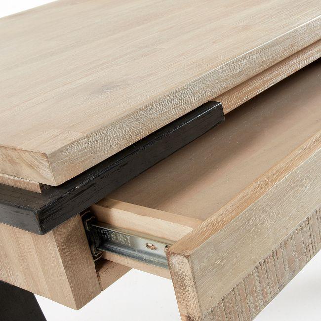 Bureau design industriel bois et métal 125x60 2 tiroirs Spike