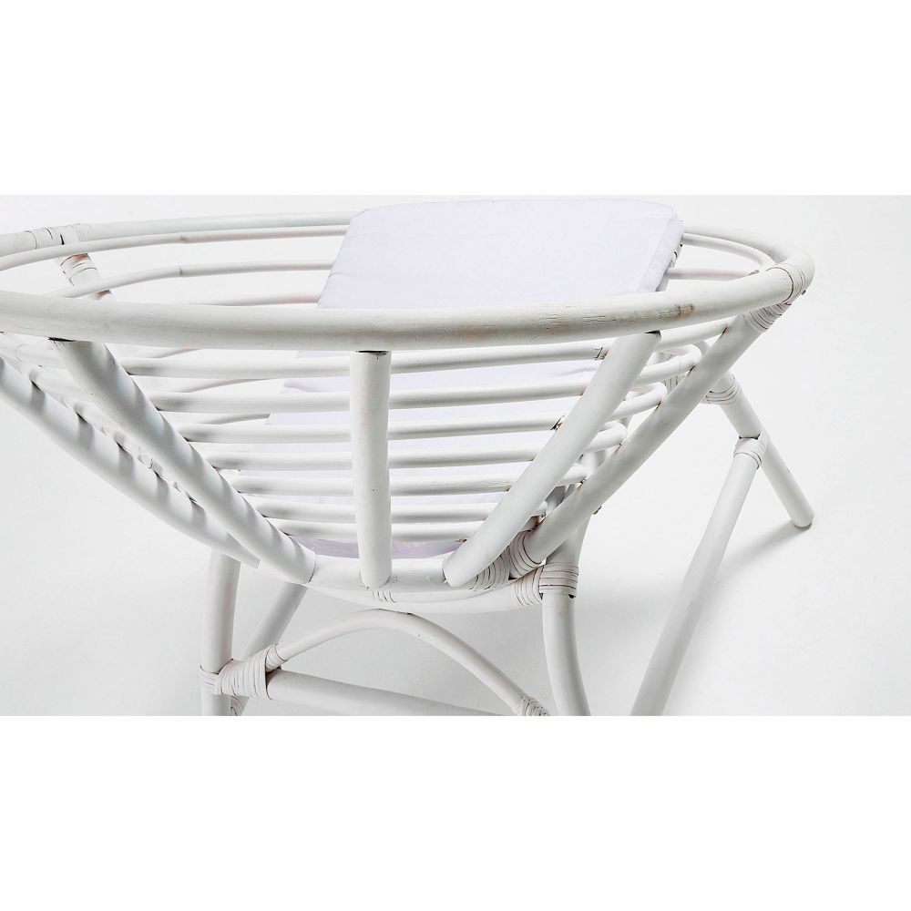 Fauteuil En Rotin Blanc Coussin Coton Lou By Drawer