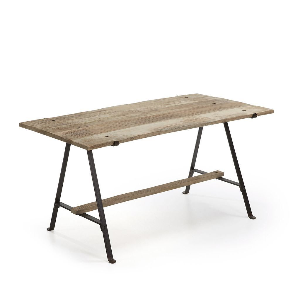 Table manger fer noir et bois de manguier aria by drawer for Table a manger noir