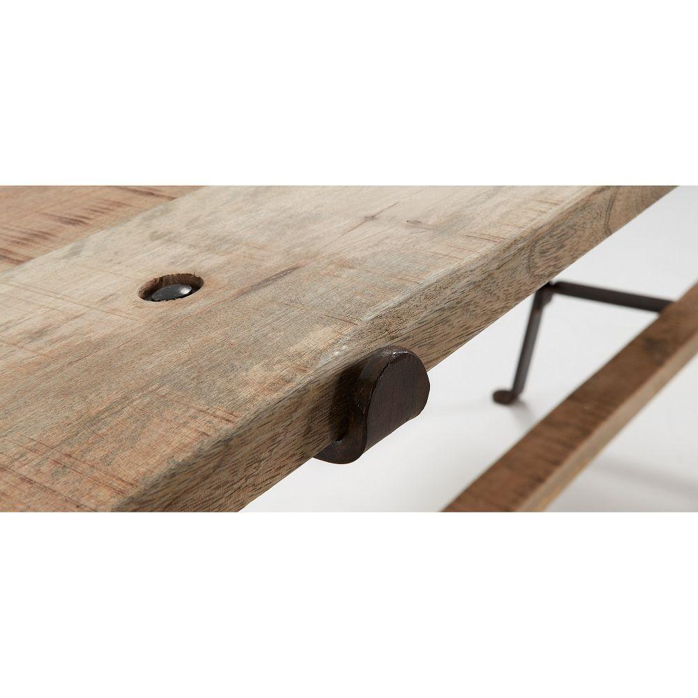 table manger fer noir et bois de manguier aria by drawer. Black Bedroom Furniture Sets. Home Design Ideas