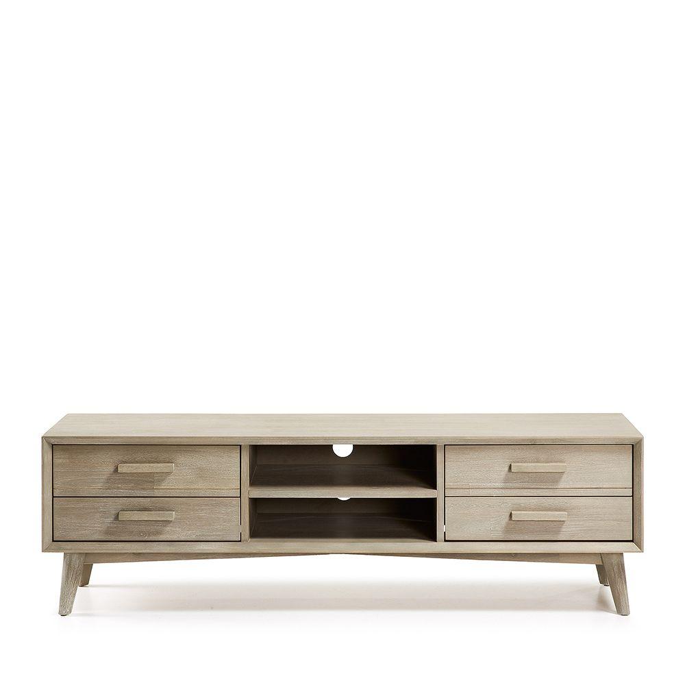 Meuble tv bois massif gris clair 4 tiroirs sam for Meuble tv gris bois
