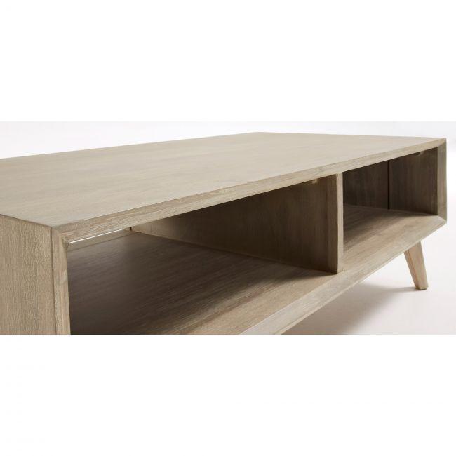 Table basse rectangle bois massif gris clair Sam