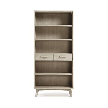 Bibliothèque bois massif gris clair 2 tiroirs 90x195 Sam