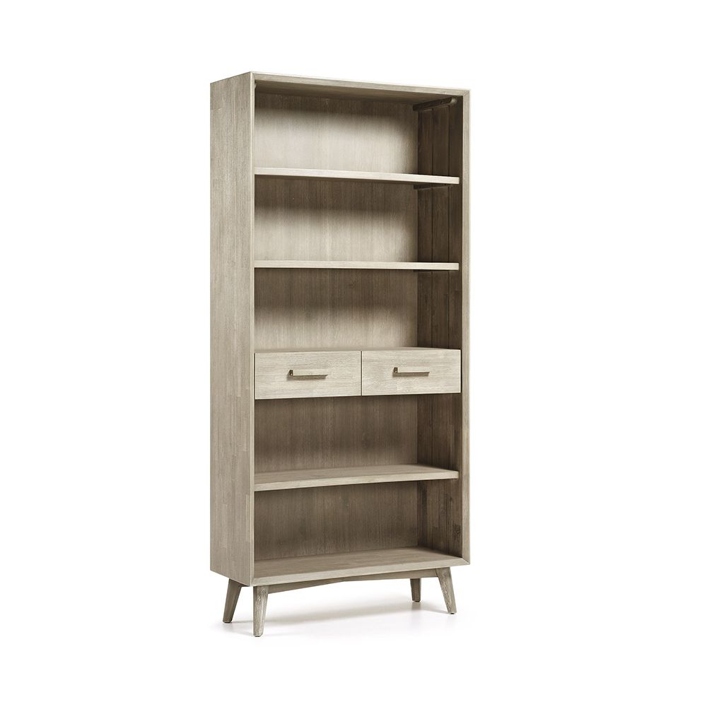 biblioth que bois massif gris clair 2 tiroirs 90x195 sam by drawer. Black Bedroom Furniture Sets. Home Design Ideas