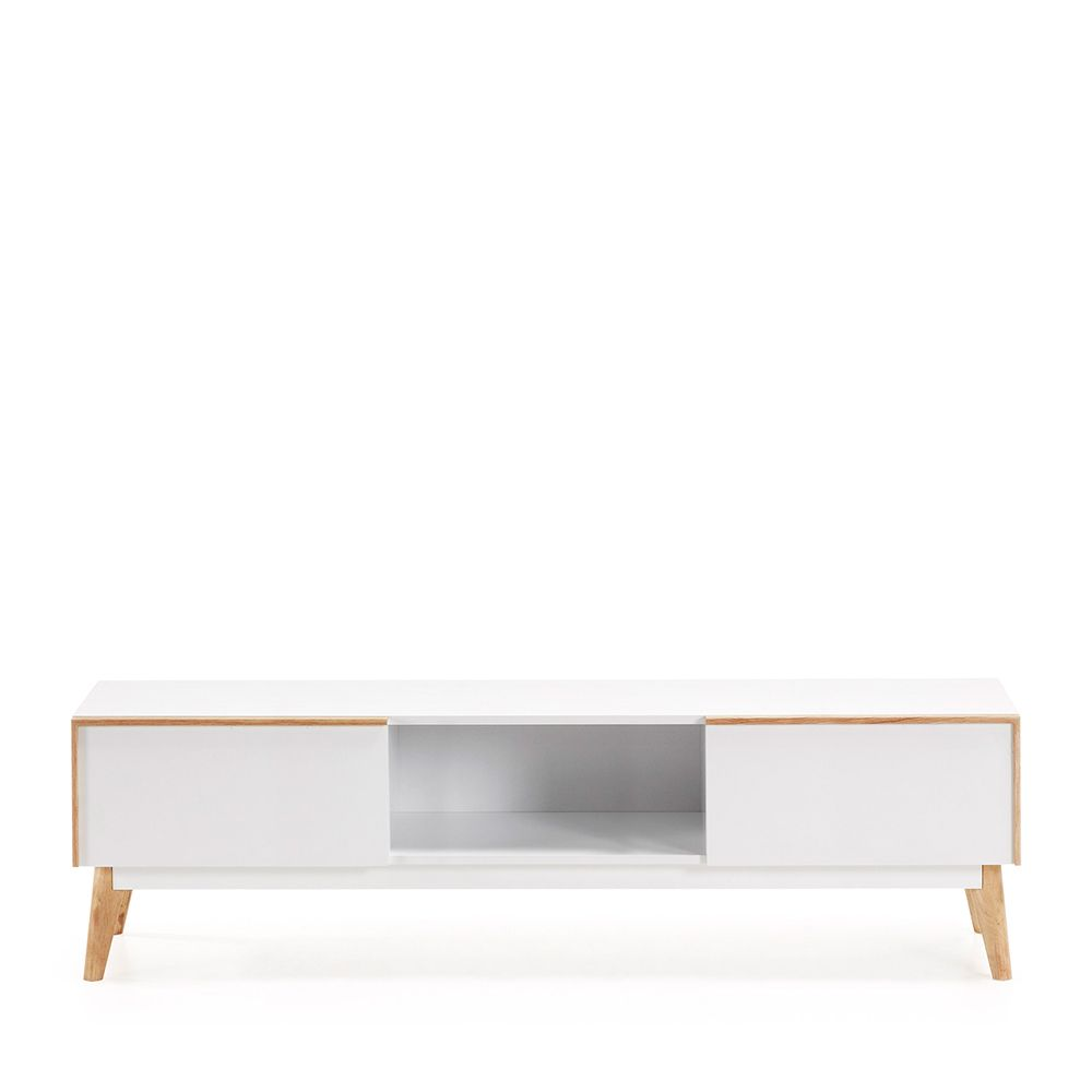 Meuble Tv Design Bois Laqu Blanc 2 Tiroirs Hector By Drawer