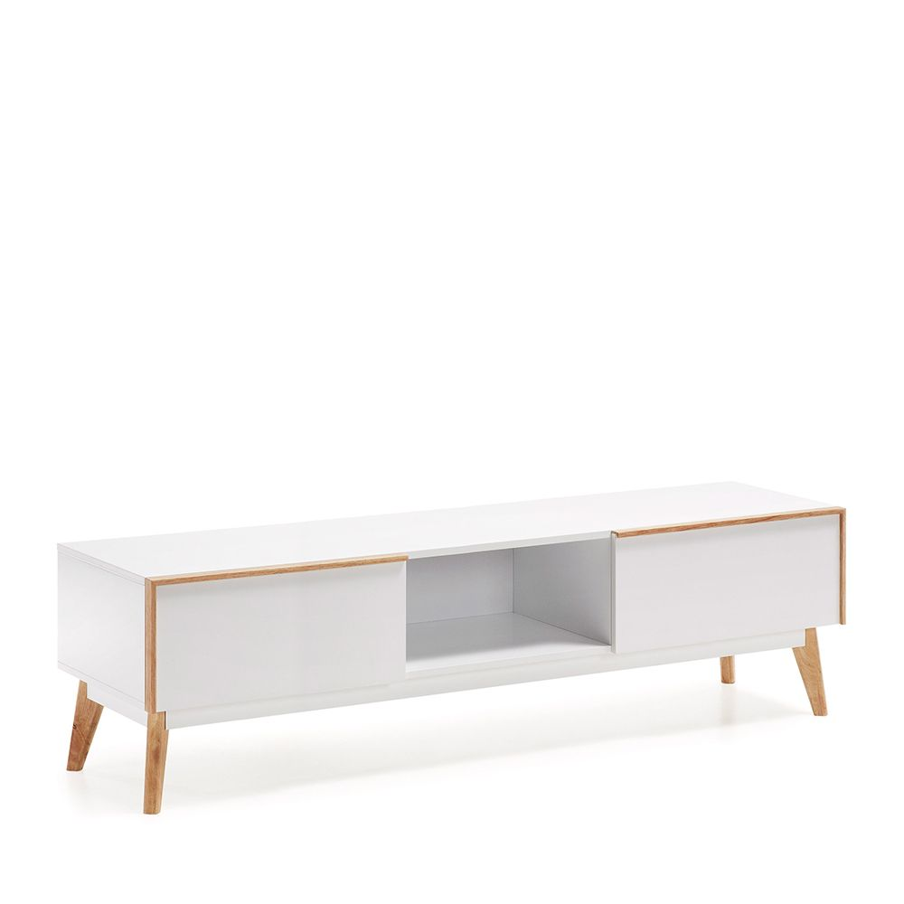 Meuble tv design bois laqu blanc 2 tiroirs hector by drawer for Meuble tv blanc tiroir