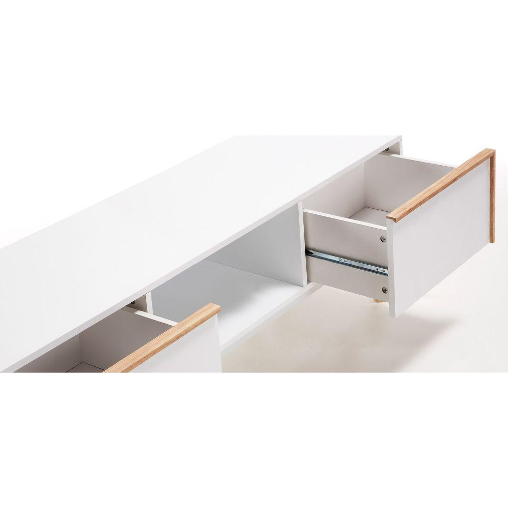 Meuble tv design bois laqu blanc 2 tiroirs hector by drawer for Meuble tv blanc tiroir
