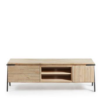 Meuble TV bois massif et métal 2 tiroirs 1 porte Spike