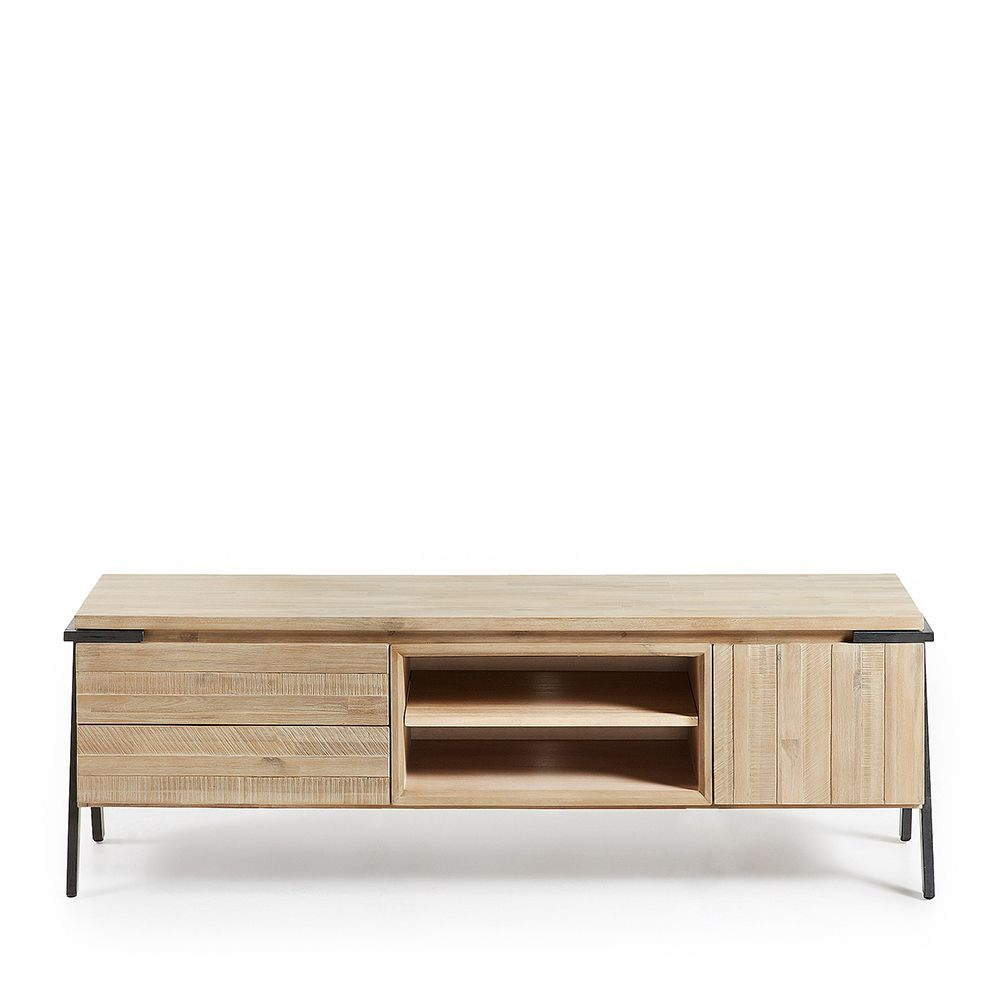 meuble tv bois massif et m tal 2 tiroir 1 porte spike by drawer. Black Bedroom Furniture Sets. Home Design Ideas