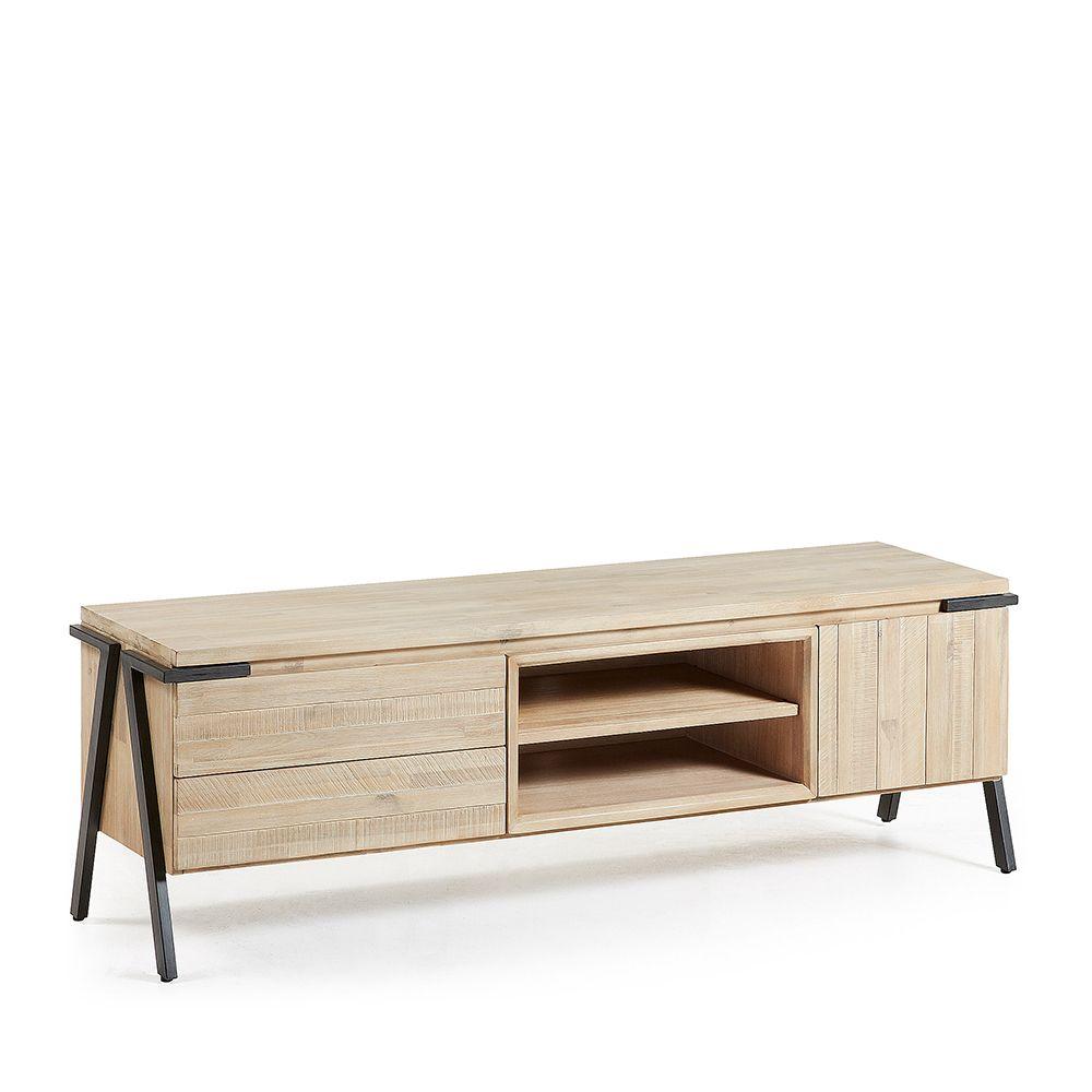 meuble tv bois massif et m tal 2 tiroir 1 porte spike by drawer. Black Bedroom Furniture Sets. Home Design Ideas