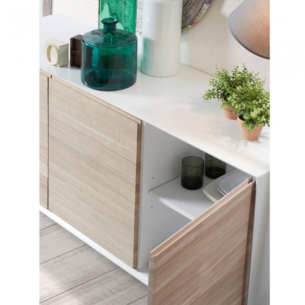 buffet design blanc et bois de fr ne josh by drawer. Black Bedroom Furniture Sets. Home Design Ideas