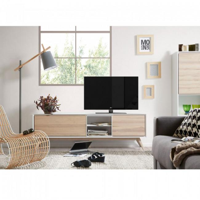 Meuble TV design blanc et bois de frêne portes battantes Josh
