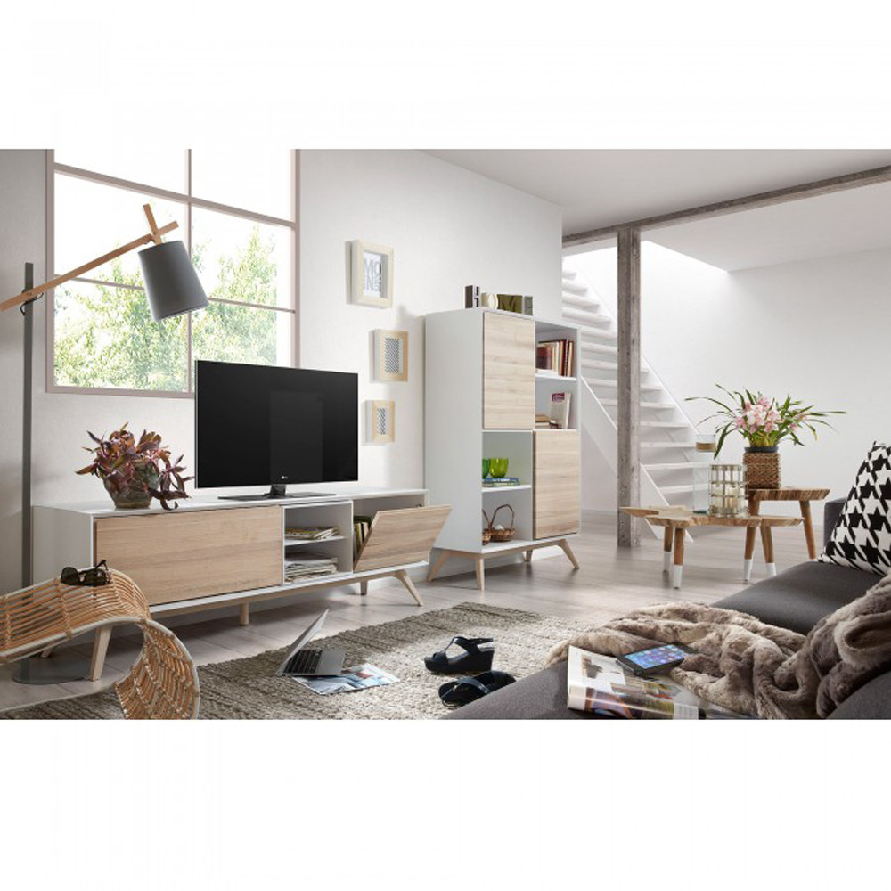 Meuble Tv Design Bois De Fr Ne Portes Battantes Josh By Drawer # Meuble Tv Et Table Basse
