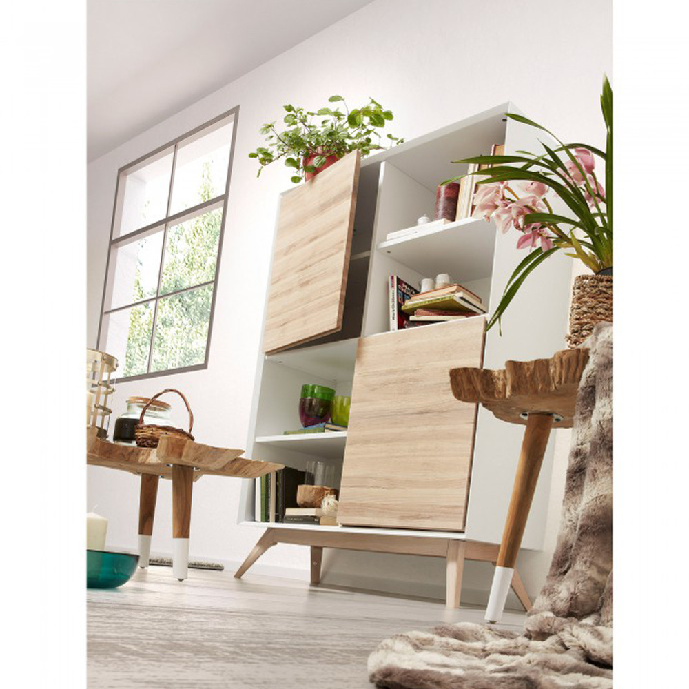 biblioth que design blanc et bois de fr ne avec portes joshua by drawer. Black Bedroom Furniture Sets. Home Design Ideas