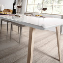 Table design scandinave extensible bois laqué blanc Joey