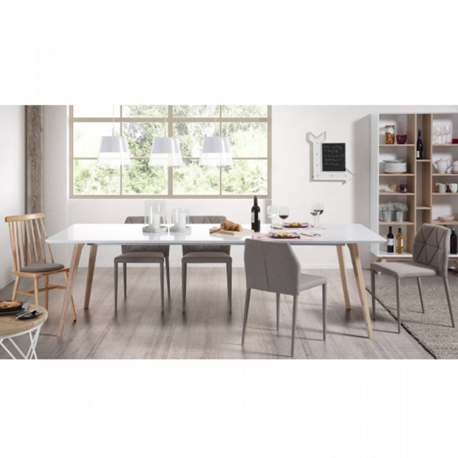 Table design scandinave extensible bois laqué blanc Joshua by Drawer