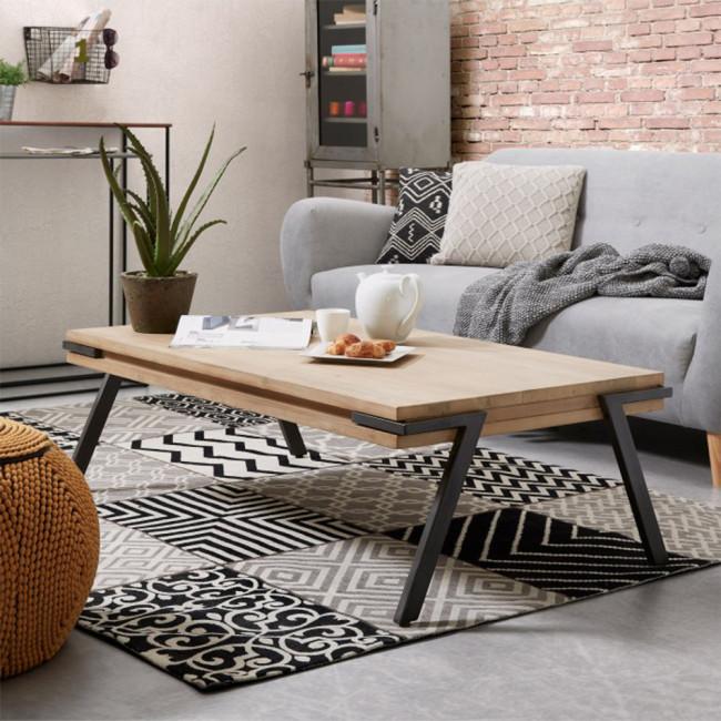 Table basse rectangle bois massif et métal Spike