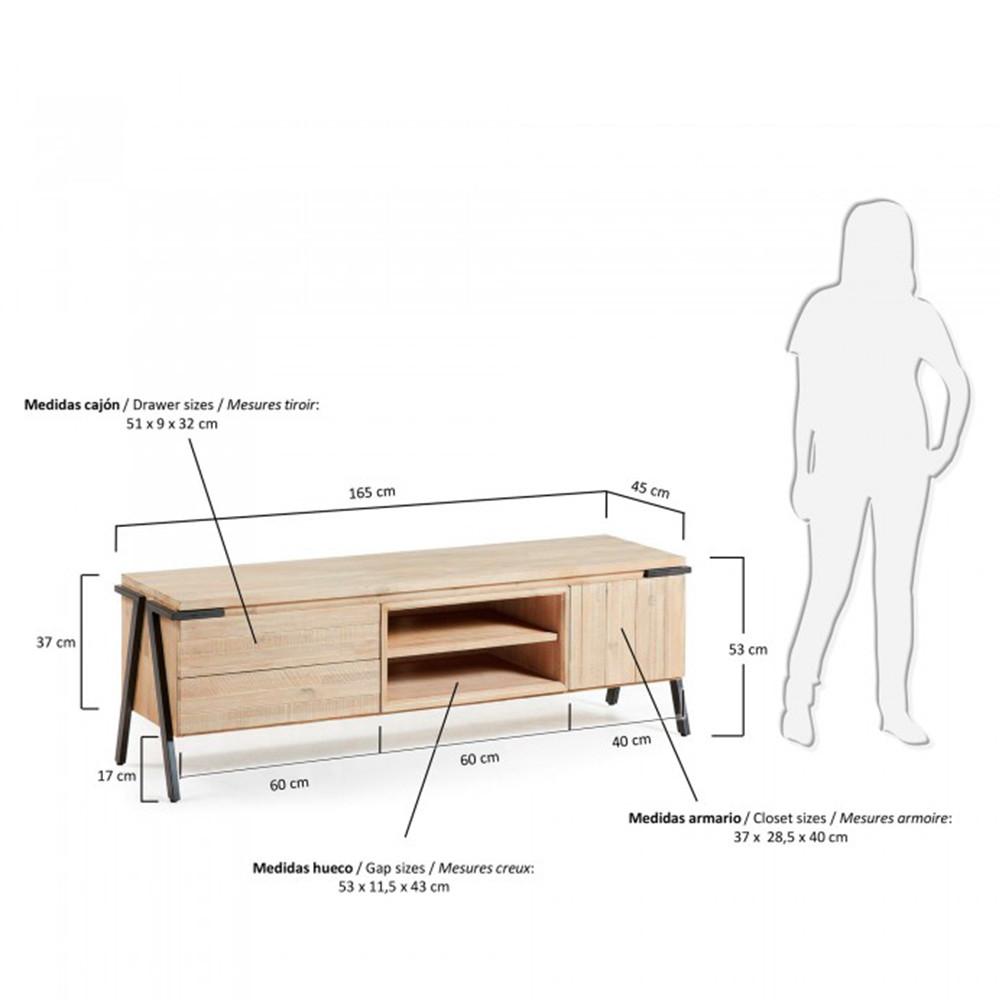 Meuble tv largeur 80 cm maison design for Meuble 2 tiroirs 60 cm woodstock bois clair