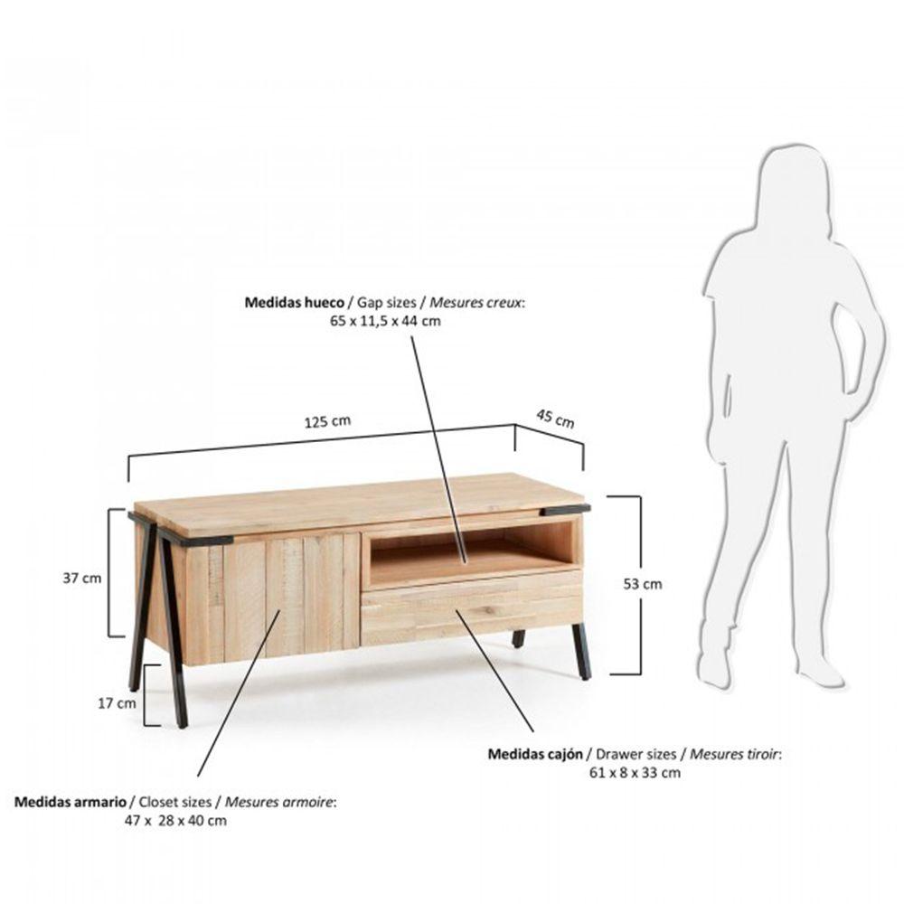 Meuble Tv Design Bois Massif Et M Tal 1 Tiroir 1 Porte Spike By Drawer # Mesure Meuble Tv Expedit