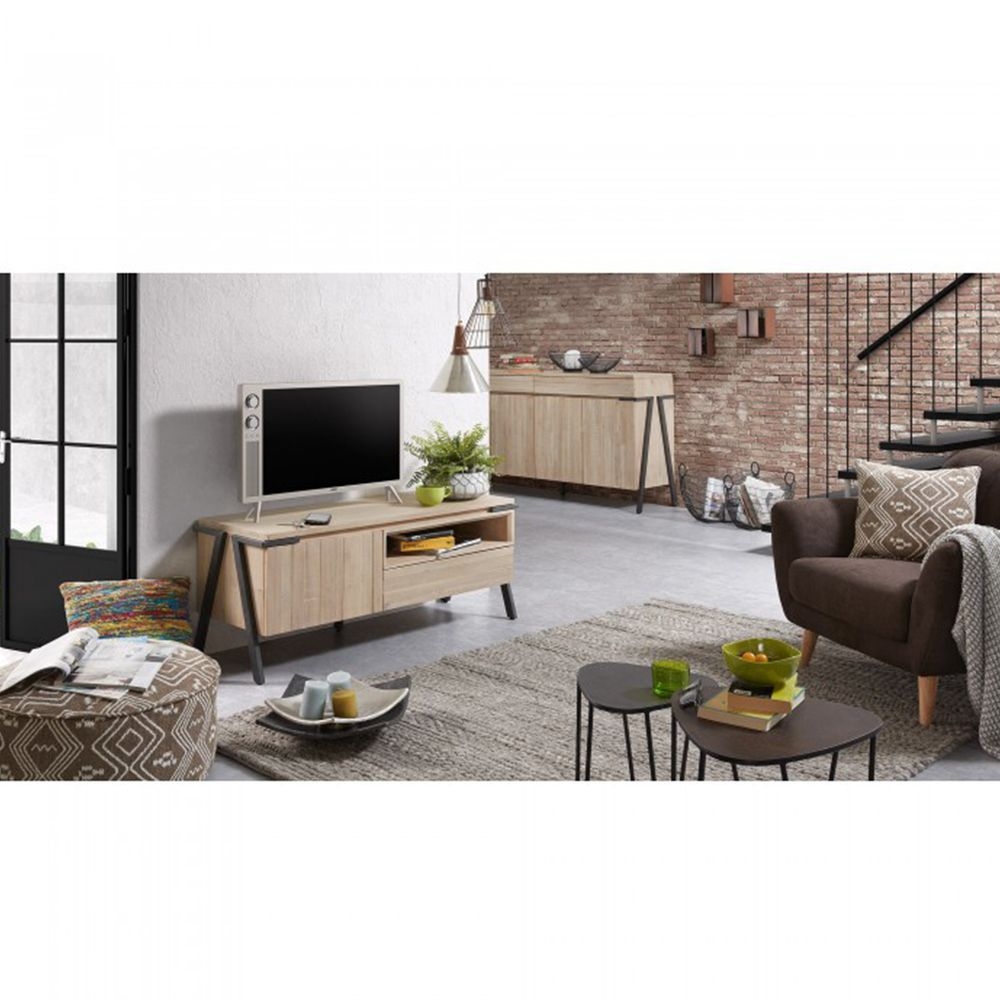 meuble tv design bois massif et m tal 1 tiroir 1 porte. Black Bedroom Furniture Sets. Home Design Ideas