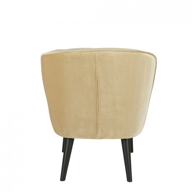 Fauteuil velours Sara champagne dos