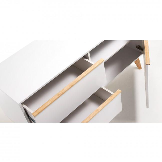 Buffet design bois laqué blanc 2 tiroirs 1 porte Hector