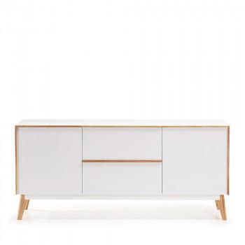 Buffet design bois laqué blanc 2 tiroirs 2 portes Hector