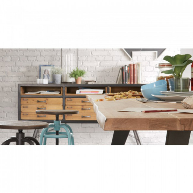 Buffet vintage bois et métal 12 tiroirs Refe