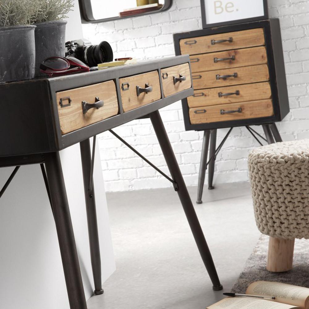 Meuble de rangement vintage bois et métal 5 tiroirs Refe - Drawer.fr