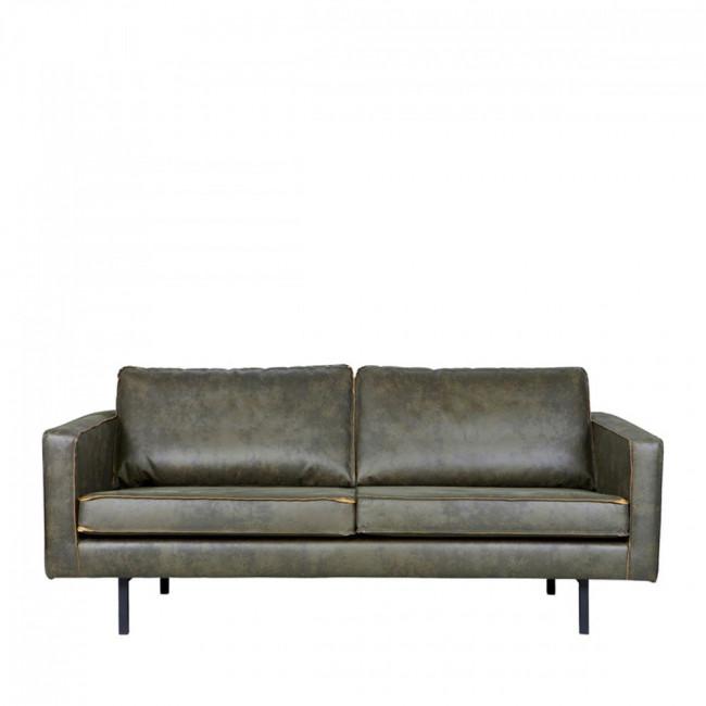 Canapé 3 places vintage en éco-cuir Bronco Vert kaki