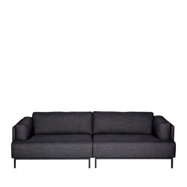 Canapé 3 places tissu et métal Uma Gris anthracite
