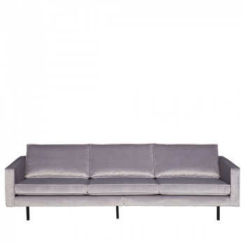 Grand canapé 3/4 places en velours Velvet Bronco Gris clair