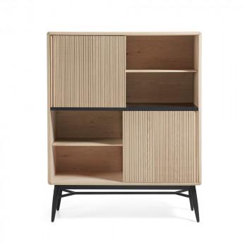 Bibliothèque bois chêne 2 portes coulissantes 120x150 Ray