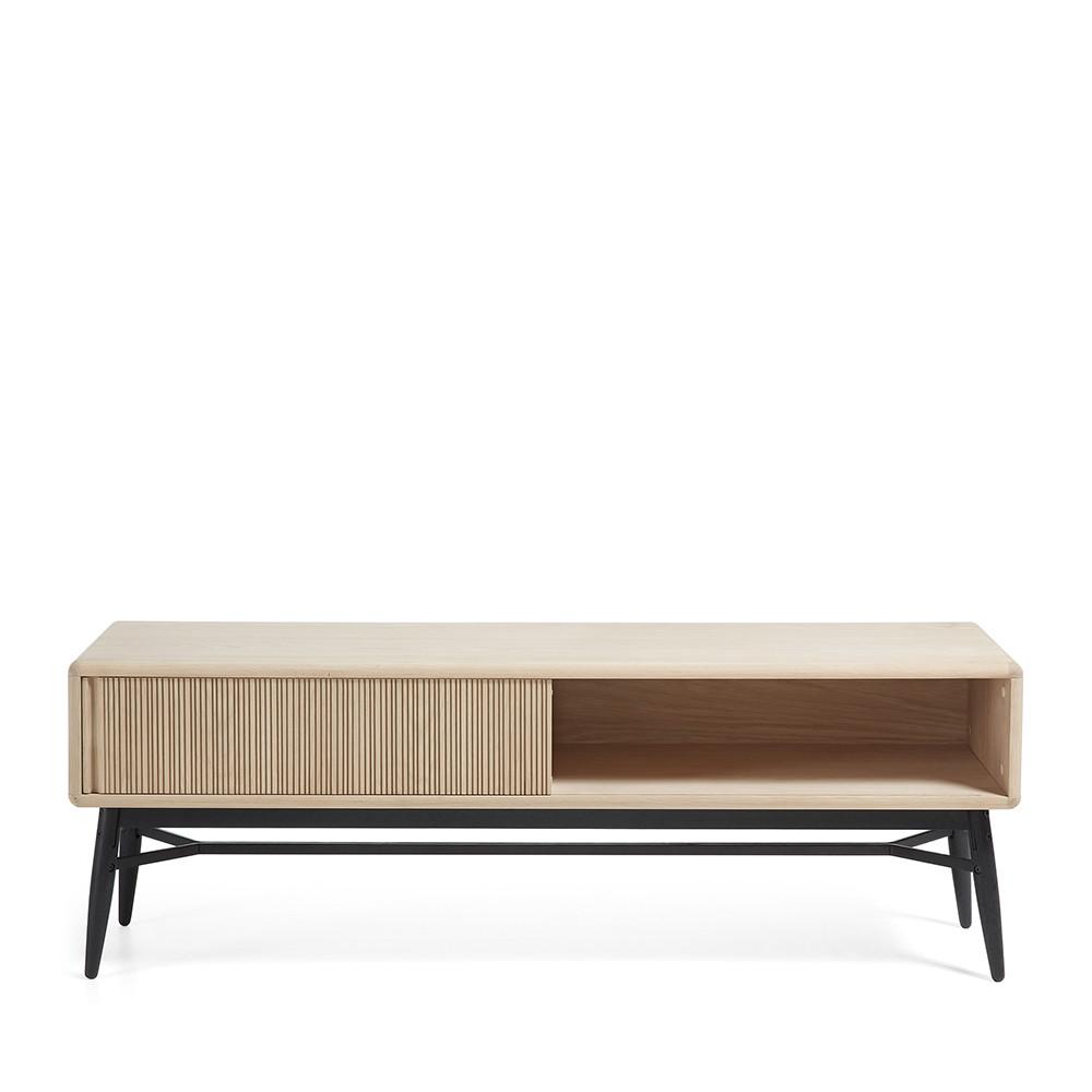 Meuble tv design bois ch ne 1 porte coulissante ray by drawer for Meuble tv design chene