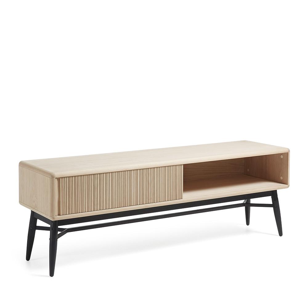Meuble tv design bois ch ne 1 porte coulissante ray by drawer for Meuble bois chene