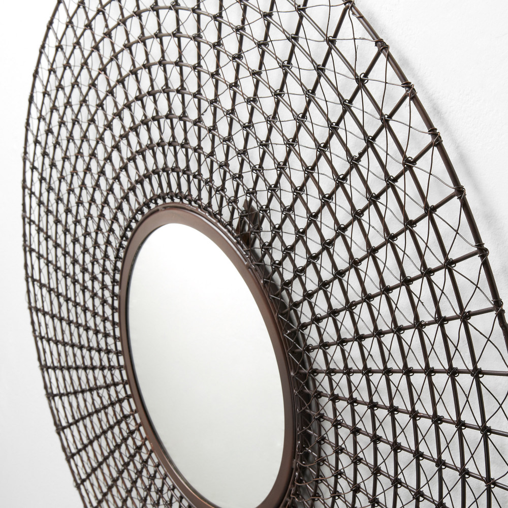 Miroir rond mural tiges m tal cuivre by drawer for Miroir mural soldes