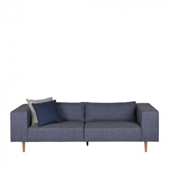 Canapé 3 places tissu et pieds en bois Bjork Bleu