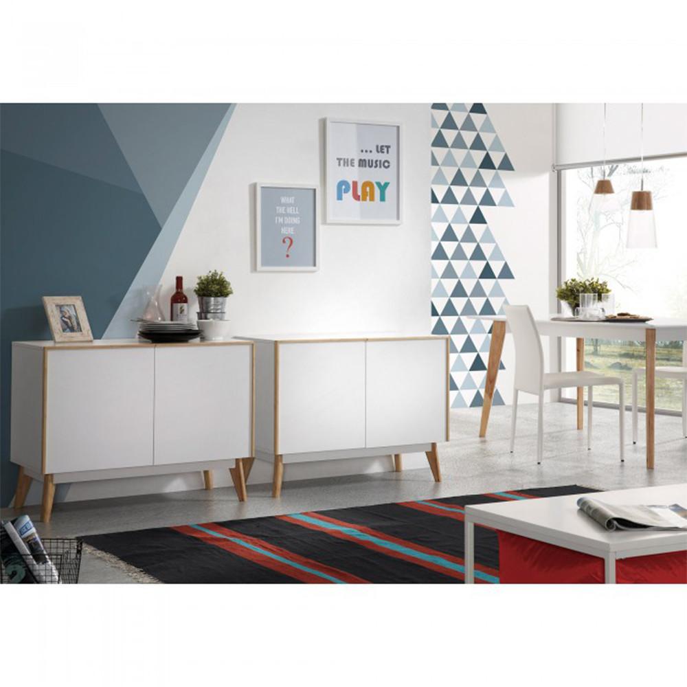 buffet design bois laqu blanc 2 portes hector by drawer. Black Bedroom Furniture Sets. Home Design Ideas