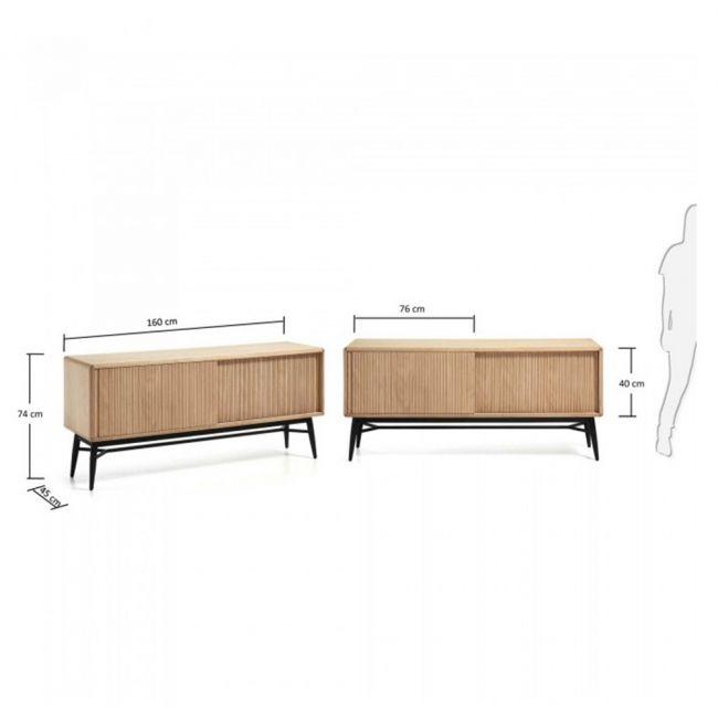 Buffet bois chêne 2 portes coulissantes 160x45 Ray