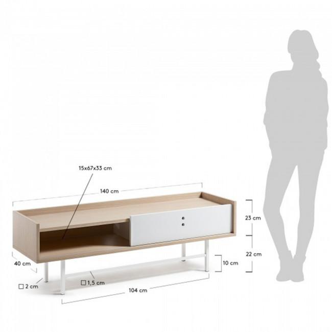Meuble TV design scandinave bois blanc mat porte coulissante 140x45 Celia