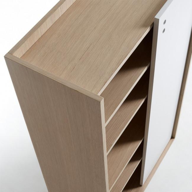 Bibliothèque scandinave bois porte coulissante Celia