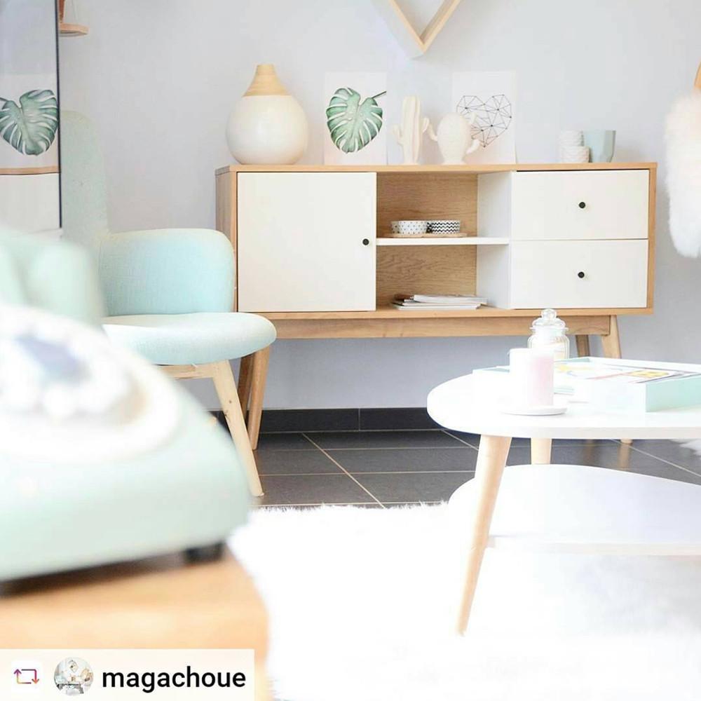 buffet scandinave design laque mat et bois skoll by drawer. Black Bedroom Furniture Sets. Home Design Ideas