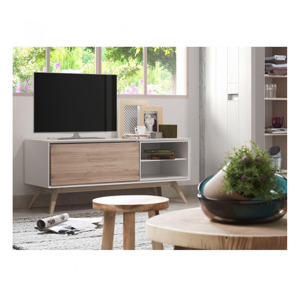 Meuble Tv Design Blanc Et Bois De Frene Joshua By Drawer